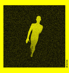 Walking man 3d human body model black and yellow vector