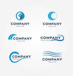 water waves logos vector image