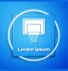 White basketball backboard icon isolated on blue vector