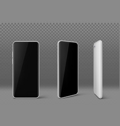 white mobile phone with black screen vector image