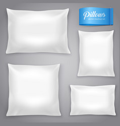 white realistic pillows background set vector image