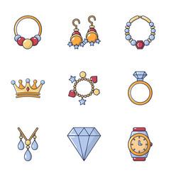 woman diamond icons set cartoon style vector image