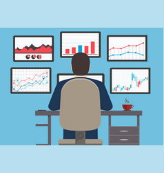 workstation web analytics information vector image