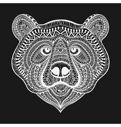 Zentangle stylized White Bear face Hand Drawn vector