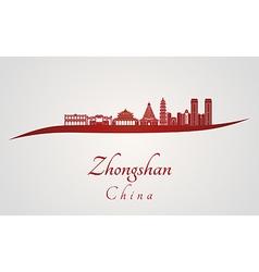 Zhongshan skyline in red vector image