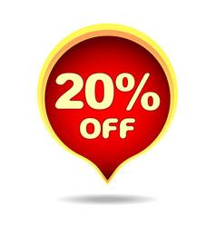 20 percent off speech bubble sticker label or vector image