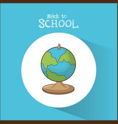 back to school globe map symbol blue background vector image