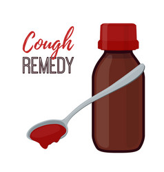 Bottle with cough remedy liquid medicine vector