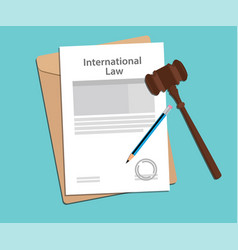 international law agreement stamped with folder vector image vector image