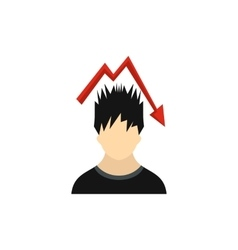 Man with falling red graph over his head icon vector image