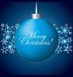 merry christmas blue ball snowflake lights vector image