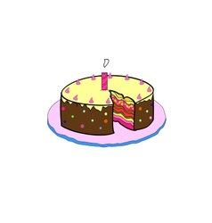birthday cake with colorful with lit candles vector image