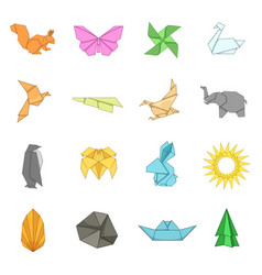 Origami icons set cartoon style vector