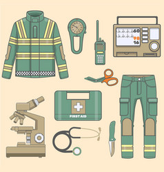 paramedical uniform and first help equipment set a vector image