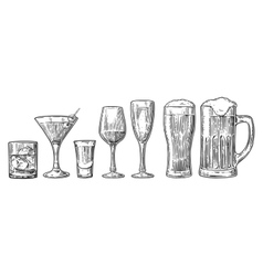 Set glass beer whiskey wine tequila cognac vector image vector image