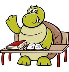 turtle raising hand cartoon vector image