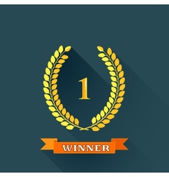 with laurel wreaths in flat design with long vector image
