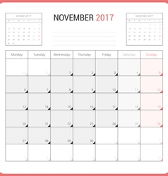 Calendar Planner for November 2017 vector image vector image