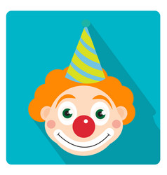 clown icon flat style with long shadows isolated vector image vector image