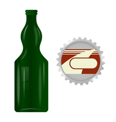 Glass bottle with a metal cap vector image