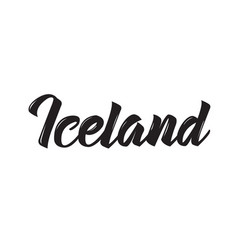 iceland text design calligraphy vector image