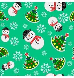 Seamless Snowman And Christmas Trees vector image vector image