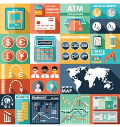 Set of flat design icons with financial infographi vector image