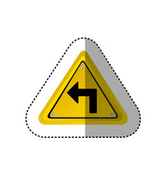 Sticker metallic realistic yellow triangle frame vector