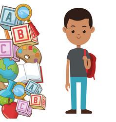 student boy backpack element school poster vector image vector image