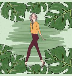 stylish casual fashion girl woman female walking vector image