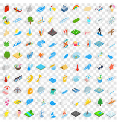 100 water icons set isometric 3d style vector image