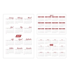 Horizontal and vertical pocket calendar vector image vector image