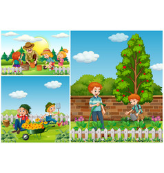 three scenes with family doing gardening vector image