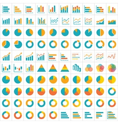 100 graph and chart infographic icon flat design vector