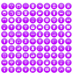 100 smart house icons set purple vector