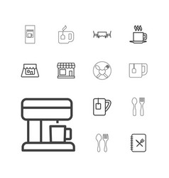 13 cafe icons vector