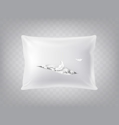 3d realistic torn pillow template mockup vector image
