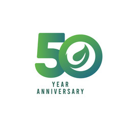 50 years anniversary leaf template design vector