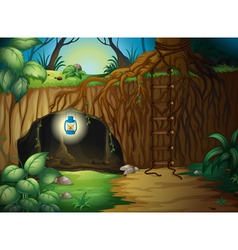 A cave in the jungle vector
