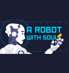 a robot with soul in flat style vector image