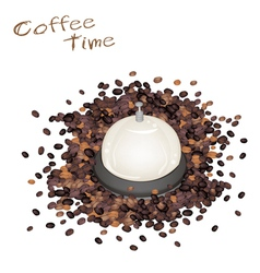 A Service Bell with Roasted Coffee Beans vector image