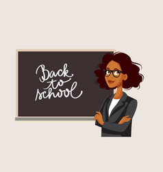 african female teacher standing in front a vector image