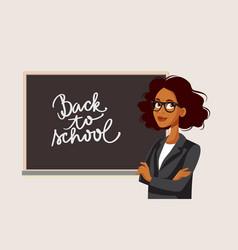 African female teacher standing in front vector