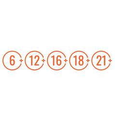 Age limit icon set sign for restriction vector