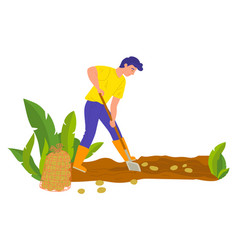 Agricultural worker planting potato in soil vector