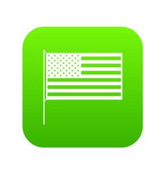 american flag icon digital green vector image