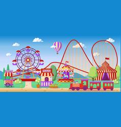 Amusement park panoramic landscape roller coaster vector