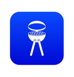 barbecue grill icon digital blue vector image