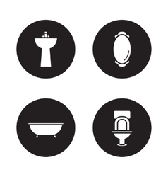 Bathroom black icons set vector