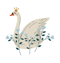 beautiful white swan princess with golden crown vector image